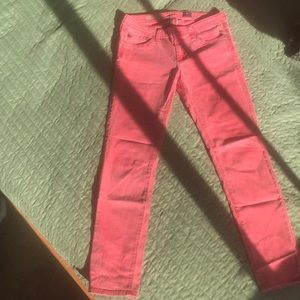 Light pink AG The Stevie ankle slim straight jeans
